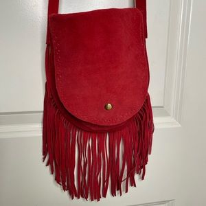 Red leather suede fringe crossbody purse